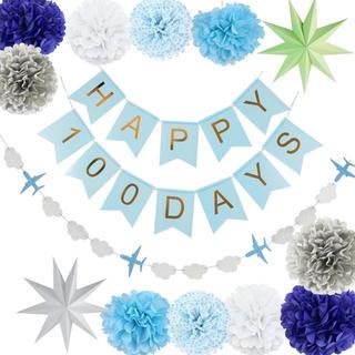 100日祝い ガーランド   お食い初め ブルー