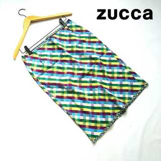 ズッカ(ZUCCa)のズッカ★カラフルチェック柄フリンジタイトスカート M 緑 日本製 エイネット(ひざ丈スカート)