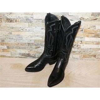 トニーラマ(Tony Lama)のSPECIAL トニーラマリザード革 ウエスタンブーツ 黒 25,5cm(ブーツ)