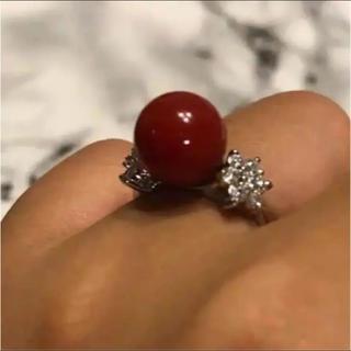 【絶品】天然赤サンゴ 輝くダイヤモンド  リング(リング(指輪))