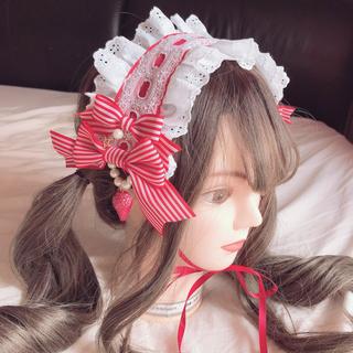 アンジェリックプリティー(Angelic Pretty)のふわふわフリルのストロベリーヘッドドレス(ヘアバンド)