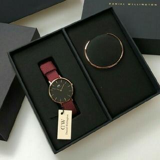 Daniel Wellington - 女性に大人気【ナイロン レッド32mm】ダニエルウェリントン 腕時計とバングル