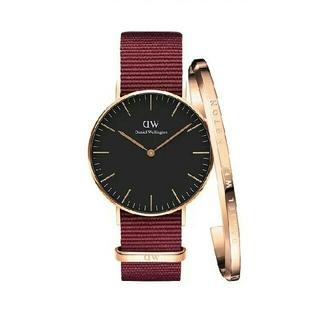 ダニエルウェリントン(Daniel Wellington)の36MM ナイロン ルビーレッド ダニエルウェリントン 腕時計とバングル セット(腕時計)