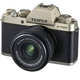 フジフイルム(富士フイルム)の新品 富士フィルム X-T100 レンズセット シャンパンゴールド(ミラーレス一眼)
