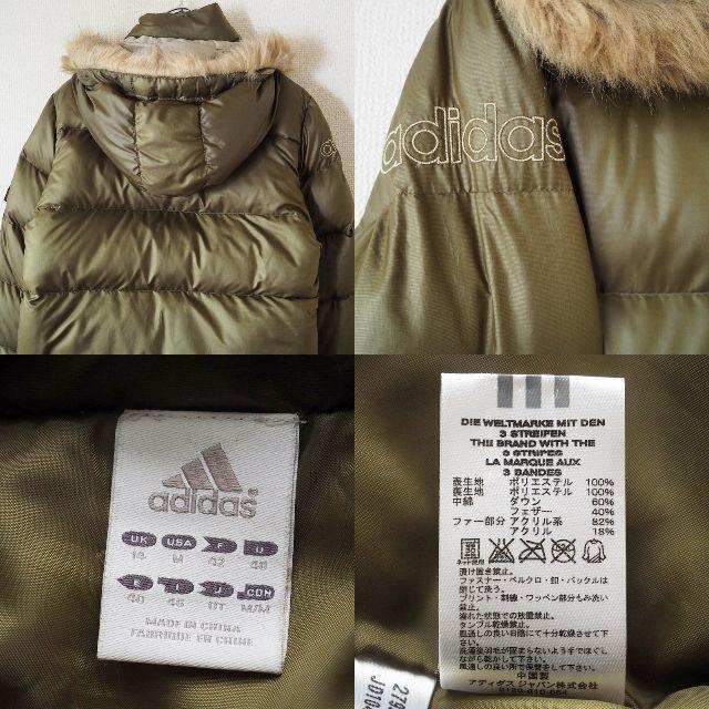 adidas(アディダス)の【人気】アディダス フーディーダウンジャケット カーキ USサイズM レディース レディースのジャケット/アウター(ダウンジャケット)の商品写真
