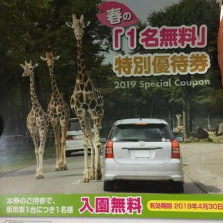 富士サファリパーク 1名無料 &割引券 特別優待券 (動物園)