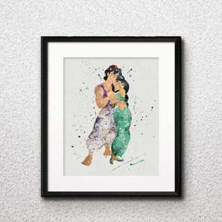 ディズニー(Disney)の日本未発売!アラジン&ジャスミン・アートポスター【額縁つき・送料無料!】(置物)