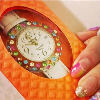 【ほぼ新品】ボンボンウォッチマルチカラー ベルト白&赤セット♡腕時計 レディース(腕時計)