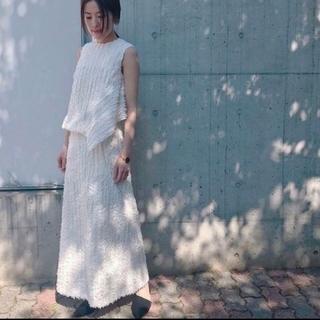 グリード(GREED)のGREEDグリード★SLAB CUT STRIPE Skirtフリンジスカート(ロングスカート)