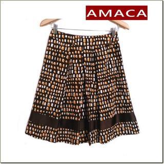 アマカ(AMACA)のAMACA◆茶系総柄タックフレアスカート◆アマカ◆三陽商会◆日本製◆36(ひざ丈スカート)