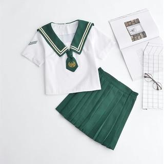 T42刺繍 セーラー服 学生 2点セット 緑(衣装)
