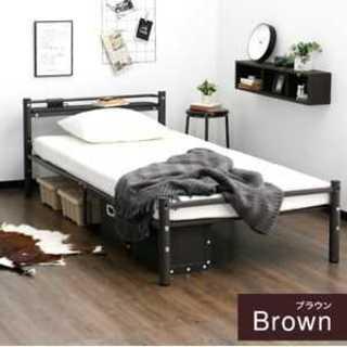 ブラウン/シングル/ベッドフレーム/パイプ/宮棚/有効(シングルベッド)