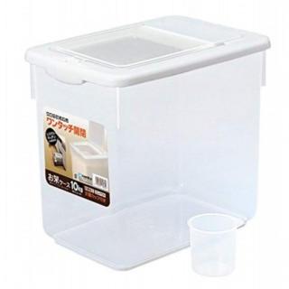 大容量15L! コンパクトな米びつ10Kgタイプ 計量カップ付 ワンタッチ開閉式(収納/キッチン雑貨)