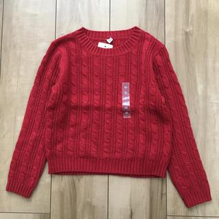 ユニクロ(UNIQLO)のUNIQLO / 【KIDS】ケーブルクルーネックセーター・赤110㎝〔新品〕(ニット)