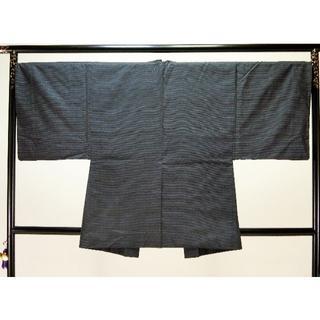 S男物お仕立て上がり正絹大島紬アンサンブル 紺地に細かい柄 羽織 恵(着物)