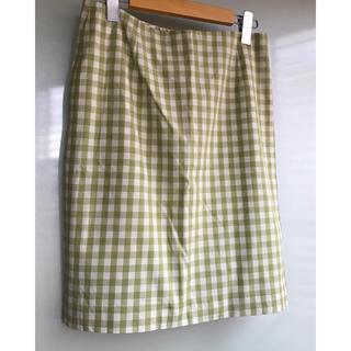 イエナ(IENA)のIENA ギンガムチェック タイトスカート サイズM 黄緑 グリーン(ひざ丈スカート)