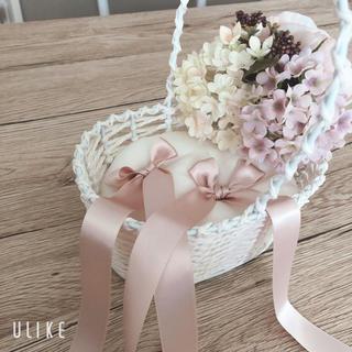結婚式 リングピロー ホワイト、ピンク、ボタニカル系(リングピロー)