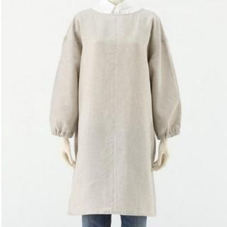 MUJI (無印良品) - クーポンで2755円★無印良品 麻平織 割烹着 かっぽう着 生成 きなり