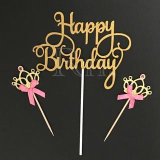 Happy birthday ケーキトッパー+王冠2本セット ゴールド(その他)
