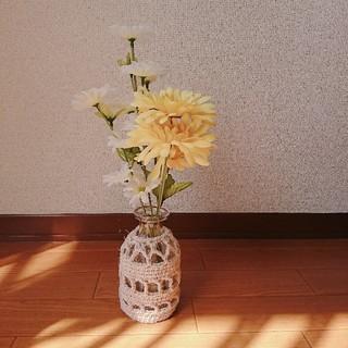 麻ひものカバーつきガラス花瓶 ハンドメイド(花瓶)