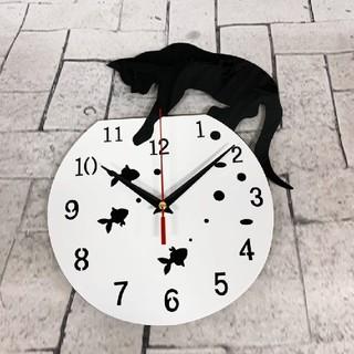黒猫 壁掛け時計 壁時計 ウォールクロック ホワイト(掛時計/柱時計)