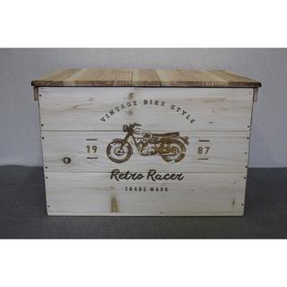 【在庫商品 89】蓋付き!彫刻デザインのウッドボックス シンプル家具(家具)