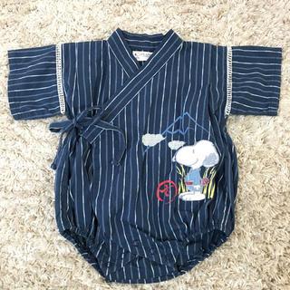 ピーナッツ(PEANUTS)の♡スヌーピー甚平 ♡ロンパース (70)SNOOPY 紺色 ストライプ(甚平/浴衣)