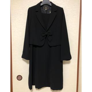 喪服 礼服 入学式 ワンピース ブラック フォーマル 13号 リボン(礼服/喪服)