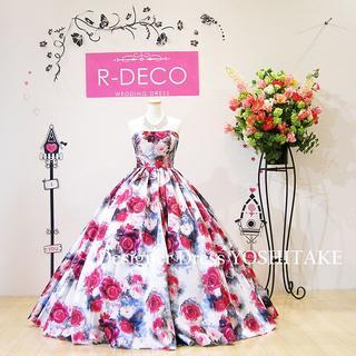 ウエディングドレス(パニエ無料) オフホワイトベース/花柄ドレス 披露宴/二次会(ウェディングドレス)