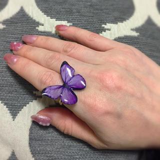 リング 蝶々 パープル チョウ バタフライ(リング(指輪))