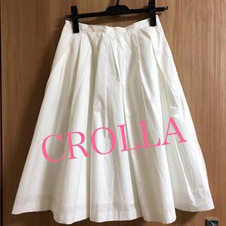 クローラ(CROLLA)の美品 送料込 クローラ ミディ丈白スカート 春夏 通勤 オフィス(ひざ丈スカート)