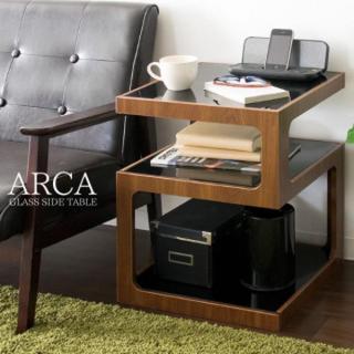 サイドテーブル ホワイト コーヒー リビング ミニテーブル ベッド ガラス 木製(コーヒーテーブル/サイドテーブル)