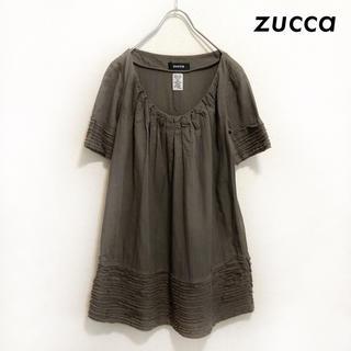 ズッカ(ZUCCa)のzucca ズッカ★フロントタック 半袖ワンピース ミニ丈 ブラウン(ミニワンピース)
