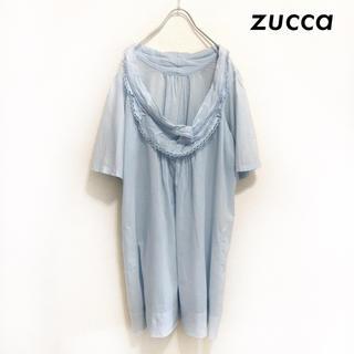 ズッカ(ZUCCa)のzucca ズッカ★デザイン襟 半袖ワンピース サックス オーバーサイズ(ひざ丈ワンピース)
