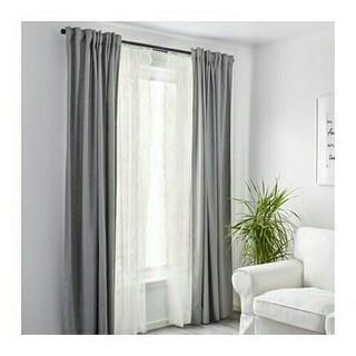 イケア(IKEA)のIKEAカーテン 2枚組 フラワー柄 オフホワイト(レースカーテン)