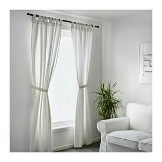 イケア(IKEA)のIKEAカーテン 2枚組  ホワイト(カーテン)