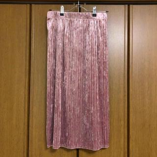 ジーユー(GU)の引っ越し処分セール!gu ベロアプリーツスカート ピンク(ひざ丈スカート)