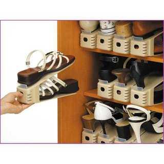 【収納達人♪】靴ホルダー 6個入 ベージュ(玄関収納)