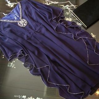 エメ(AIMER)のダリルダイアモンド ワンピース ドレス エメ パープル 紫 ビジュー 袖(ひざ丈ワンピース)