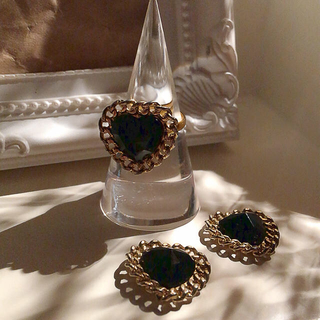 ♥ vintage black heart ring ♥ size FREE(リング)