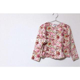 vintage flower cardigan 花柄カーディガン 120cm(カーディガン)