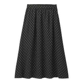 ジーユー(GU)のギャザーフレアスカート ドット ネイビー(ひざ丈スカート)