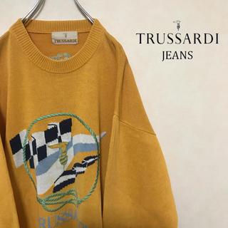 トラサルディ(Trussardi)のTRUSSARUDI トラサルディ ニット セーター ビッグロゴ マスタード(ニット/セーター)