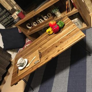 ★選べる横幅・天然木・お家カフェ・黒脚折りたたみテーブル★(家具)