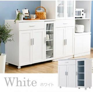 大容量 キャスター付き キッチン ワゴン ホワイト(キッチン収納)