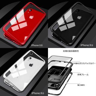 iPhone XR スマホカバー  透明背面強化ガラス  金属フレーム (バッテリー/充電器)