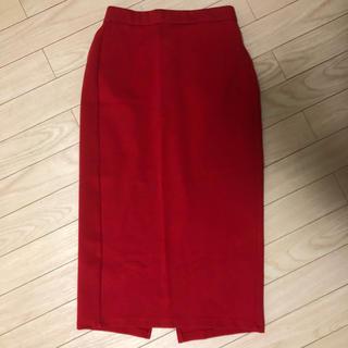 ジーユー(GU)のタイトスカート 赤 レッド(ロングスカート)