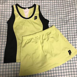 プリンス(Prince)のプリンス テニス 上下セット黄色ブラック(ウェア)