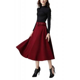 【新品】レディーススカート ロングスカート 裏地付き ベルト付 ワインレッド(ロングスカート)