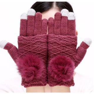 レッドワイン 紫 パープル 手袋 レディース ニット 指無し(手袋)